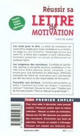 Reussir sa lettre de motivation edition 2000 - 4ème de couverture - Format classique