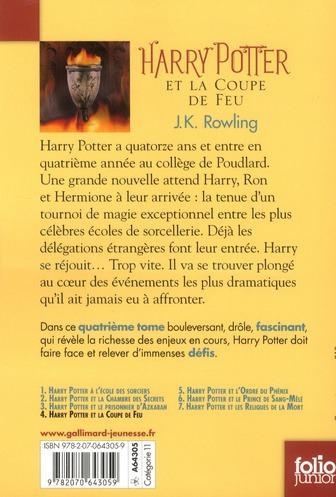 Livre harry potter t 4 harry potter et la coupe de feu - Harry potter et la coupe du feu ...