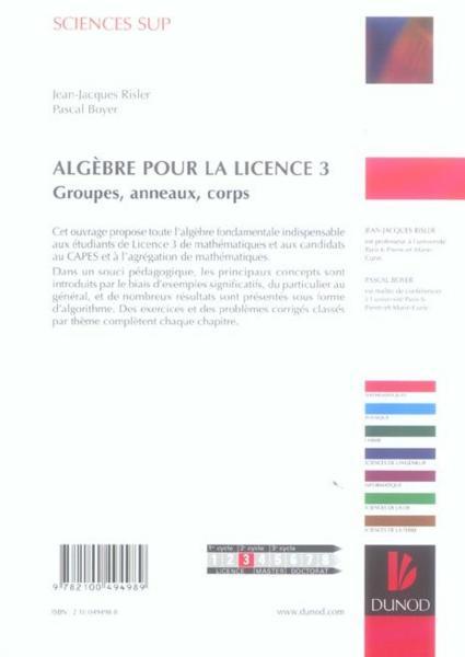 Livre > Algèbre et théorie des nombres : Théorie de Galois ...