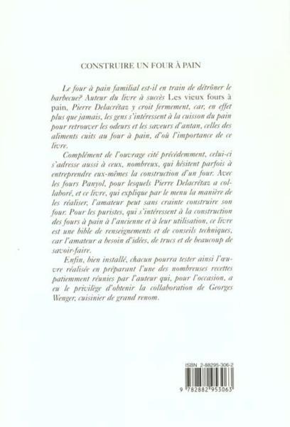 Livre construire un four a pain cuisiner a l 39 ancienne delacretaz pierre - Savoir construire un four a pain ...