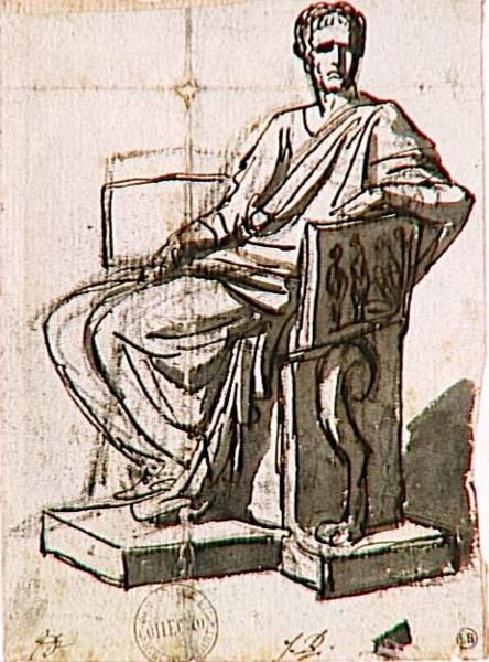 un consul assis dans une chaise de marbre david jacques louis este photo