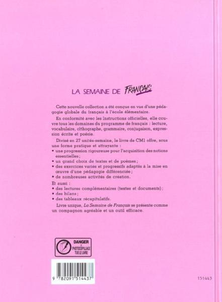 Francais cm1 livre de l 39 eleve 4 me de couverture for A portee de mots cm2