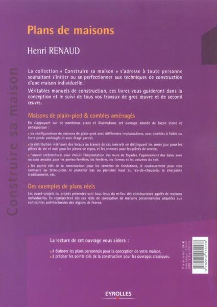 Livre plans de maisons de plain pied le combles amenages henri renaud - Livre de plan de maison ...