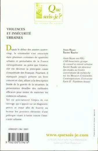 Violences et insecurite urbaines (6eme edition)  - Bauer/Raufer Alain/X
