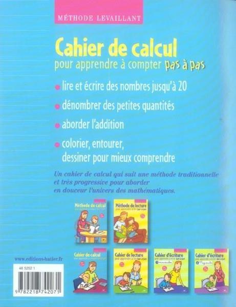 livre calcul pour apprendre a compter pas a pas methode levaillant cahier d 39 exercices. Black Bedroom Furniture Sets. Home Design Ideas