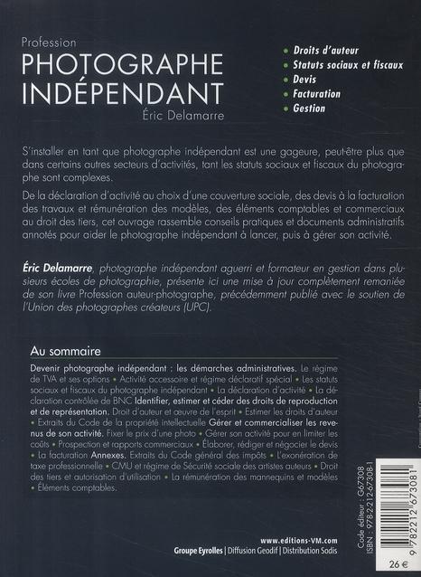 Livre profession photographe independant droits d 39 auteur for Statut auteur photographe