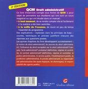 Qcm droit administratif - 4ème de couverture - Format classique