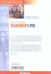 Bien preparer science po ; reussir son entree dans un iep - 4ème de couverture - Format classique