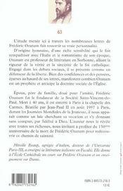 Frederic ozanam, la saintete d'un laic - 4ème de couverture - Format classique