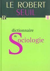Dictionnaire De Sociologie Le Robert / Seuil - Intérieur - Format classique