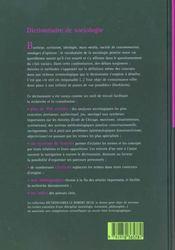 Dictionnaire De Sociologie Le Robert / Seuil - 4ème de couverture - Format classique
