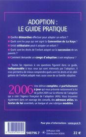 Adoption Le Guide Pratique 2006 - 4ème de couverture - Format classique