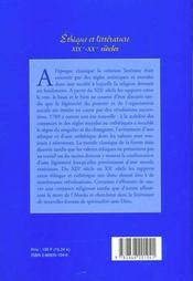 Ethique Et Litterature,19e-20e Siecles. Colloque De Strasbourg, 10 Et 11 Dec. 1998 - 4ème de couverture - Format classique