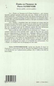 Etudes En L'Honneur De Pierre Sandevoir ; Service Public Services Publics - 4ème de couverture - Format classique