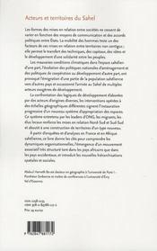 Acteurs et territoires du Sahel - 4ème de couverture - Format classique