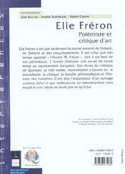Elie Freron Polemiste Et Critique D'Art - 4ème de couverture - Format classique