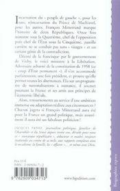 Francois Mitterrand Ou Le Triomphe De La Contradiction - 4ème de couverture - Format classique