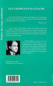 Les chapelets d'attache - 4ème de couverture - Format classique