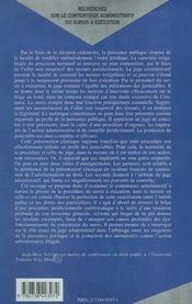 Recherches Sur Le Contentieux Administratif Du Surcis A Execution - 4ème de couverture - Format classique
