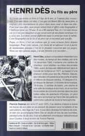 Henri Des. Du Fils Au Pere - 4ème de couverture - Format classique