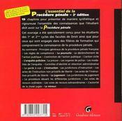 Essentiel De La Procedure Penale - 4ème de couverture - Format classique