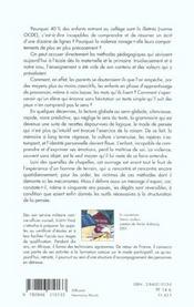 L'ecole semeuse de violence ; illetrisme et revolte - 4ème de couverture - Format classique