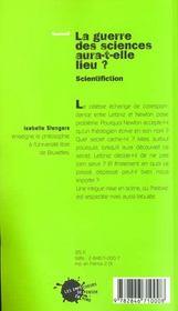 Guerre Des Sciences Aura-T-Elle Lieu ? Scientifiction (La) - 4ème de couverture - Format classique