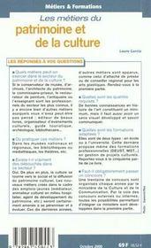 Metiers Du Patrimoine Et De La Culture - 4ème de couverture - Format classique
