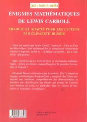 Enigmes Mathematiques De Lewis Carroll - 4ème de couverture - Format classique