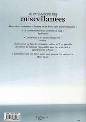 Le vade-mecum des miscellanées - 4ème de couverture - Format classique