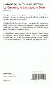 Le Cerveau, Le Langage, Le Sens - 4ème de couverture - Format classique