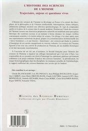 L'histoire des sciences de l'homme ; trajectoire, enjeux et question vives - 4ème de couverture - Format classique
