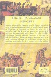 Memoires du sergent bourgogne - 4ème de couverture - Format classique