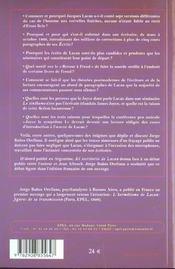 L'Ecritoire De Lacan - 4ème de couverture - Format classique