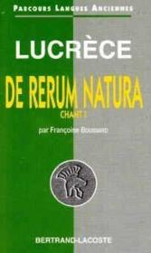 Lucrece : de natura rerum,livre i-parcours langues anciennes - Couverture - Format classique
