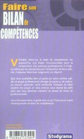 Faire son bilan de competences - 4ème de couverture - Format classique