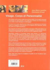 Visage, corps et personnalite - 4ème de couverture - Format classique