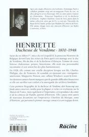 Henriette ; duchesse de Vendôme - 4ème de couverture - Format classique