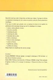 Sciences Industrielles Mecanique 1re Annee (Cinematique Et Statique) Cours Et Exercices Corriges - 4ème de couverture - Format classique