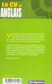 Le CV en anglais - 4ème de couverture - Format classique