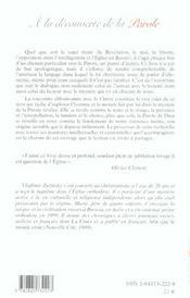 A La Decouverte De La Parole - 4ème de couverture - Format classique