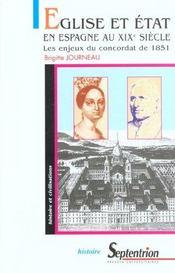 Eglise Et Etat En Espagne Au Xix Siecle ; Les Enjeux Du Concordat 1951 - Intérieur - Format classique