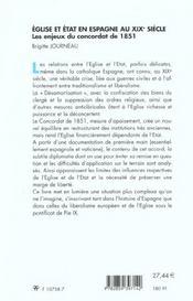 Eglise Et Etat En Espagne Au Xix Siecle ; Les Enjeux Du Concordat 1951 - 4ème de couverture - Format classique