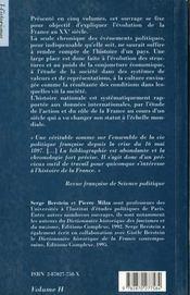 Histoire de la France au XXe siècle ; 1900-1930 - 4ème de couverture - Format classique