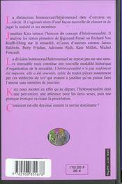 L'Invention De L'Heterosexualite - 4ème de couverture - Format classique