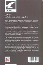 Cerf, Biologie, Comportement, Gestion - 4ème de couverture - Format classique