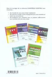 Controle Continu ; Physique-Chimie ; Bts Arts Appliqués - 4ème de couverture - Format classique