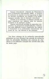 Recherche (1) Interculturelle - 4ème de couverture - Format classique