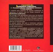 Essentiel Des Institutions Judiciaires 2 - 4ème de couverture - Format classique
