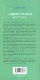 Le guide des eaux en france - 4ème de couverture - Format classique